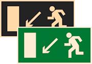 фотолюминесцентный знак эвакуации Е08 Направление к эвакуационному выходу налево вниз