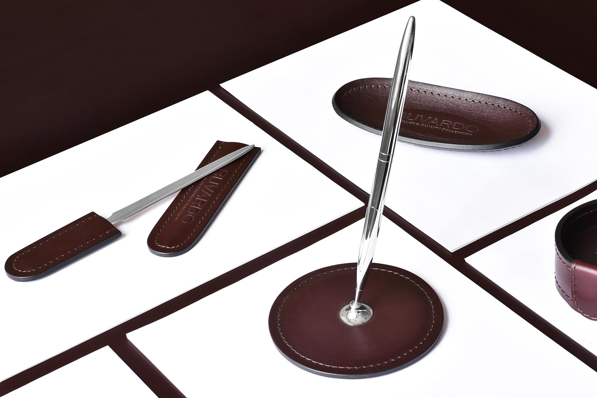 Подставка для одной ручки Люкс из кожи Full Grain Bologna Brown