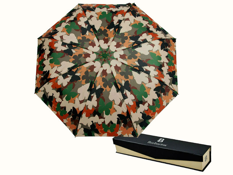 "Камуфляж бабочки Barbarina женский складной зонт Butterfly camouflage""Бабочки камуфляж""(Италия)."