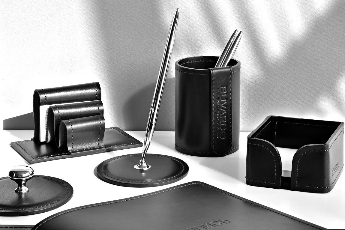 Подставка для одной ручки Люкс из черной кожи Full Grain