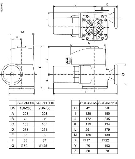 Размеры привода клапана электромоторного Siemens SQL36E65