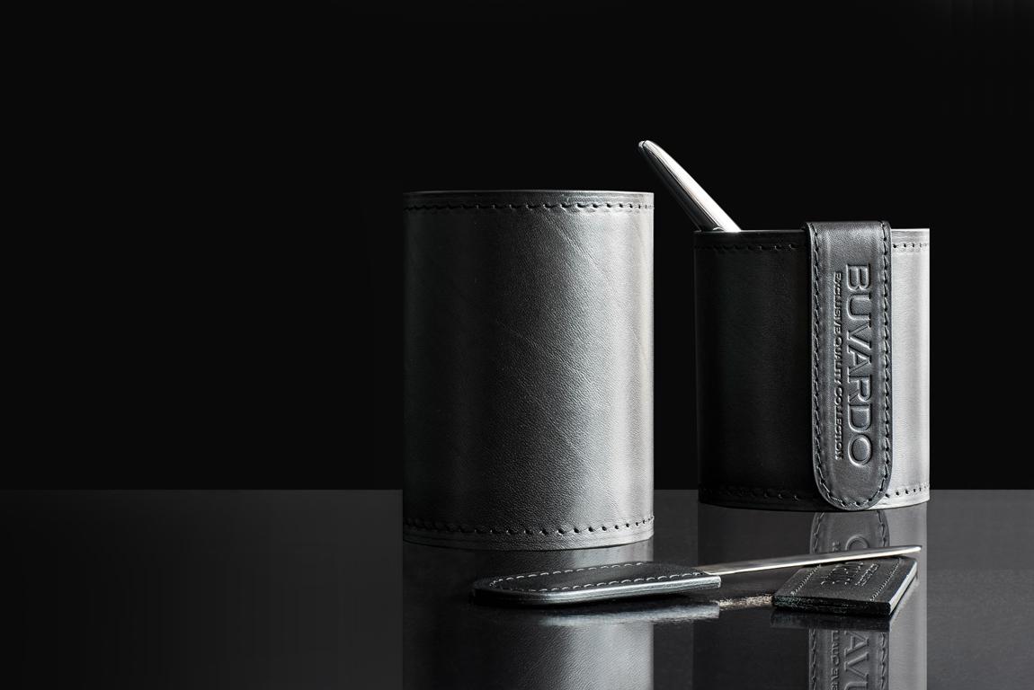 Стакан для карандашей Люкс из черной кожи Full Grain Bologna
