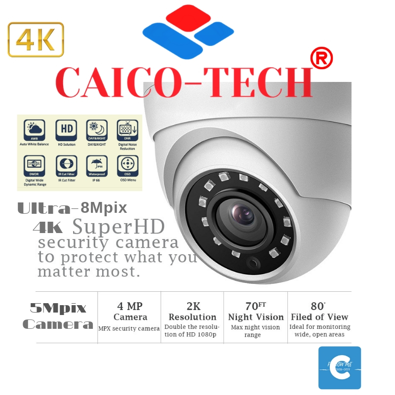 CAICO TECH CCTV видеокамеры для помещения AHD TVI 4K Ultra HD  следующего поколения