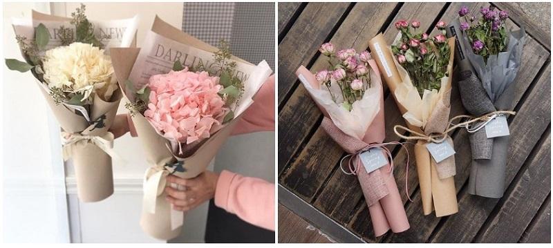 Цветы, упакованные в крафтовую бумагу