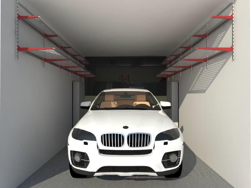 Настенный стеллаж над машиной в гараже
