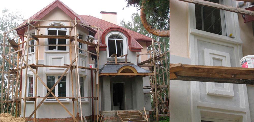Дом из газобетона и утеплённый пенопластом шпатлёвка