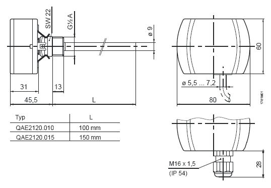 Размеры датчика Siemens QAE2121.010