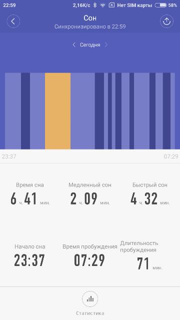 Информация о сне из приложения xiaomi mi band 2