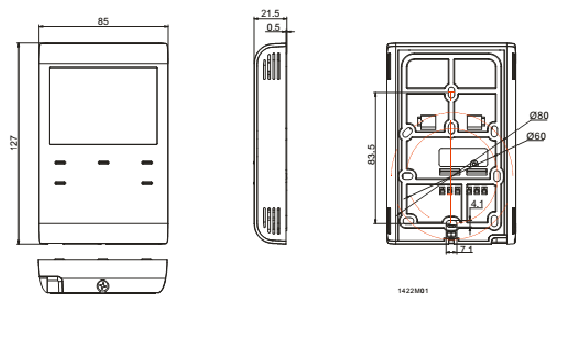 Размеры термостата Siemens RDE100.1-XA