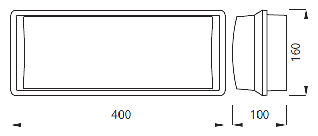 Размер аварийного светильника 2*8/18/24/36 W IP65 EMX