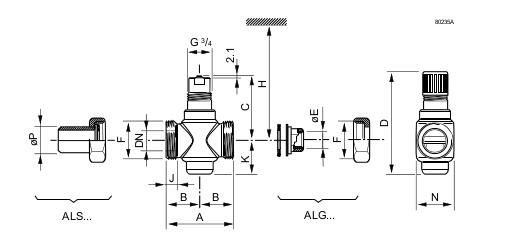 Размеры клапана Siemens VVG55.15-0.25
