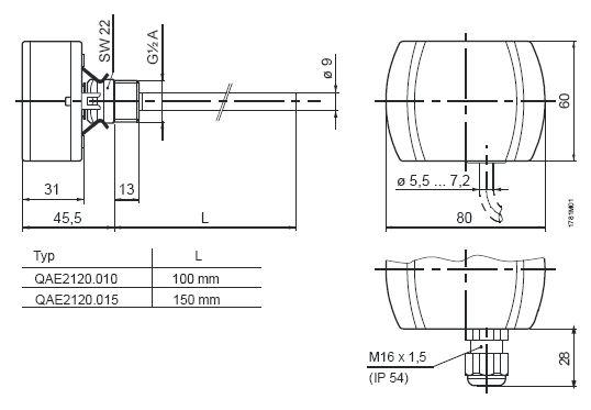Размеры датчика Siemens QAE2174.015