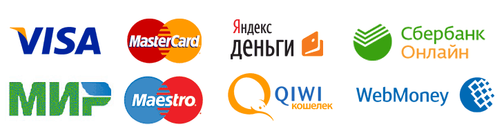 Оплата банковскими картами Visa, MasterCard, Maestro или МИР