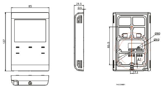 Размеры термостата Siemens RCR100FPRF