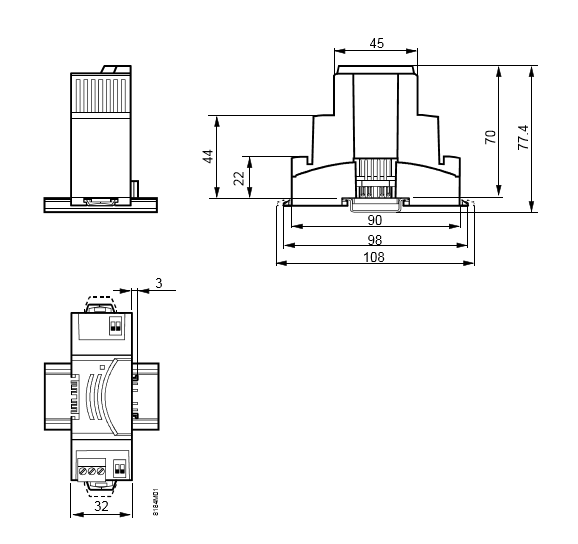 Размеры модуля расширения ISLAND шины Siemens TXA1.IBE