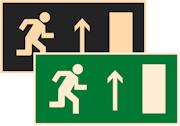 фотолюминесцентные знаки безопасности Е11 Направление к эвакуационному выходу прямо (правосторонний)