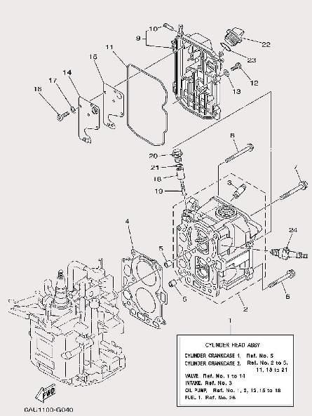 Запчастицилиндров и картера для лодочного мотора F9,9 Sea-PRO