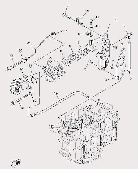 Запчасти выхлопной системы лодочного мотора F9,9 Sea-PRO