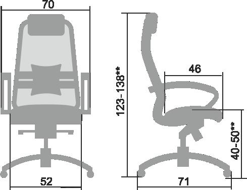 Размеры кресла Samurai 1.03