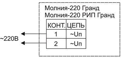 Схема подключения для светового оповещателя МОЛНИЯ-220 РИП ГРАНД «Выход»