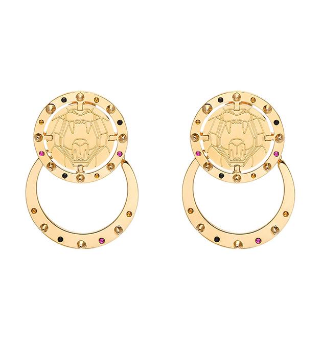 серьги круглой формы в виде монет - Lion Medal от Maria Francesca Pepe