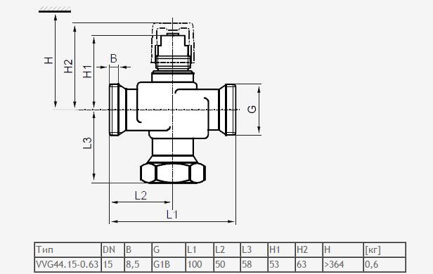 Размеры клапана регулирующего Siemens VVG44.15-0.63