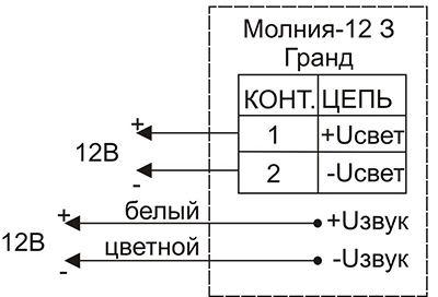 Схема подключения для светового оповещателя «Выход» Молния-12-3 ГРАНД / Молния-24-3 ГРАНД