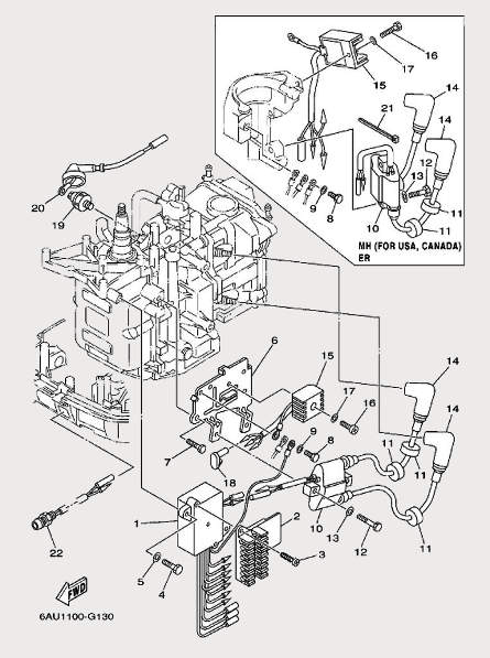 Запчасти электрической системы для лодочного мотора F9,9 Sea-PRO
