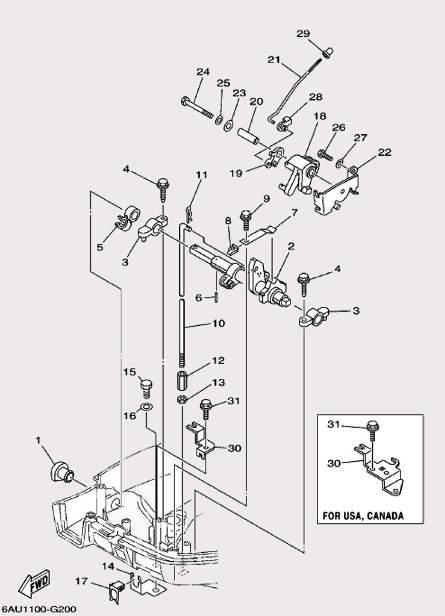 Запчасти системы управления лодочного мотора F9,9 Sea-PRO