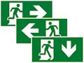 Знаки безопасности, пиктограммы, наклейки для эвакуационного аварийного освещения.