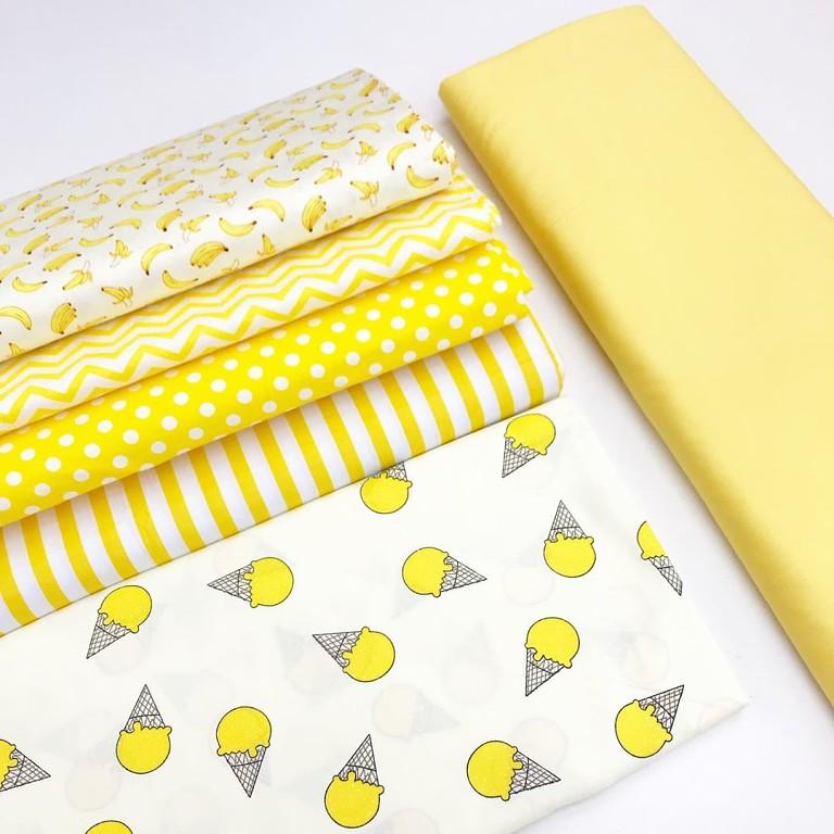 Ткань хлопок с детским рсунком желтого цвета