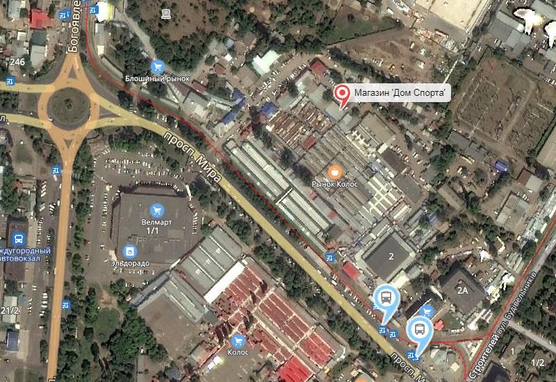 Схема расположения магазина Дом Спорта на Рынке Колос в Нмколаеве