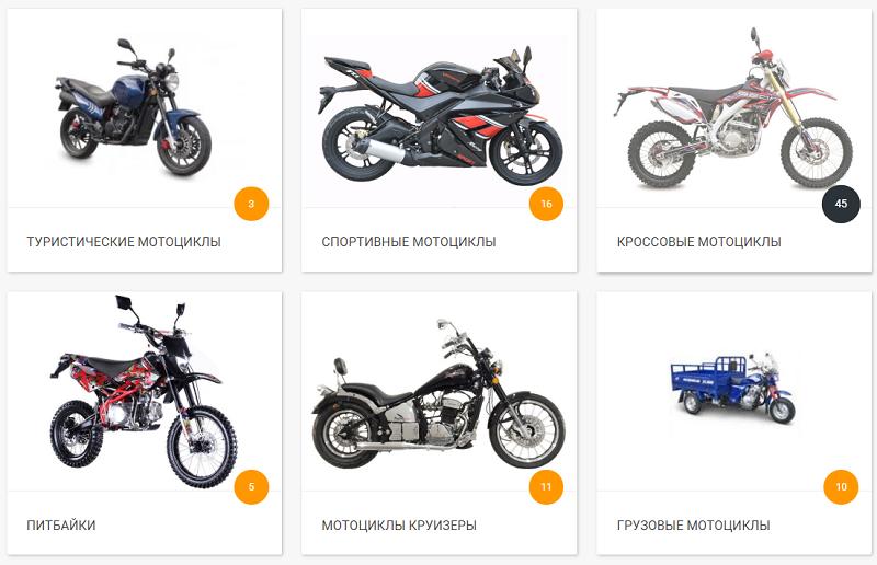 Категории продаваемых мотоциклов на сайте