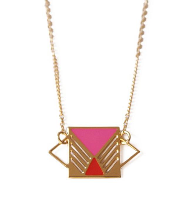 купите украшение в стиле color blocking от Chic Alors Paris - collier Rufus Rose&Rouge