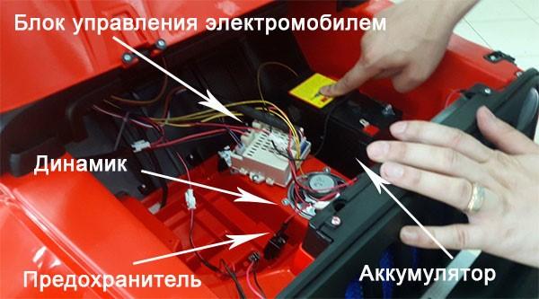 Устройство детского электромобиля