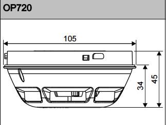 Размеры извещателя дымового оптического Siemens_OP720