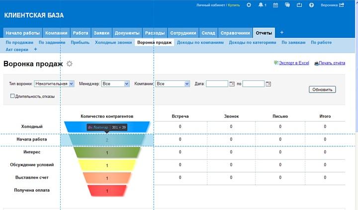 Ориентировочный интерфейс CRM-системы для работы с клиентской базой