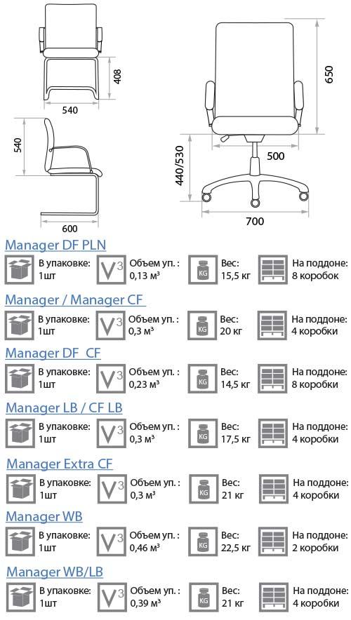 Кресло Менеджер размеры