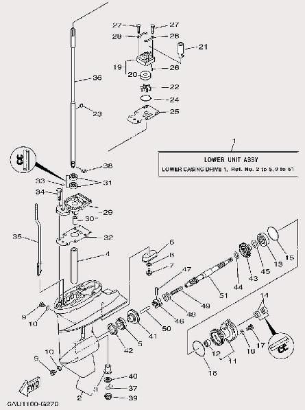 Запчасти редуктора для лодочного мотора F9,9 Sea-PRO