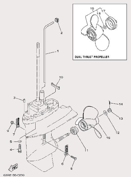 Запчасти нижнего редуктора лодочного мотора F9,9 Sea-PRO