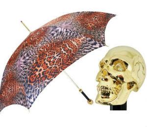 Зонт золотой череп