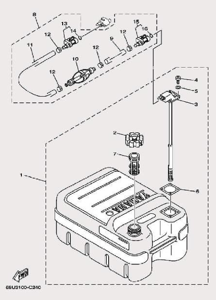 Запчасти топливного бака для лодочного мотора F9,9 Sea-PRO