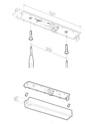 Монтажные размеры для светильника аварийного освещения на светодиодах ONTEC-A