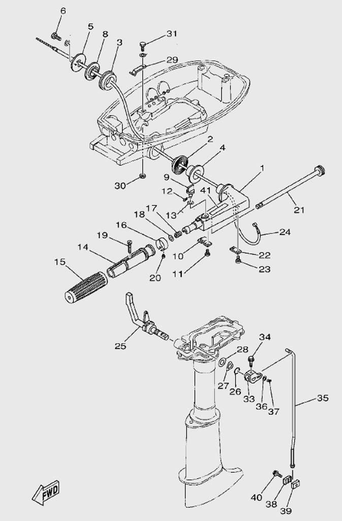 Запчасти румпеля для лодочного мотора T5 SEA-PRO