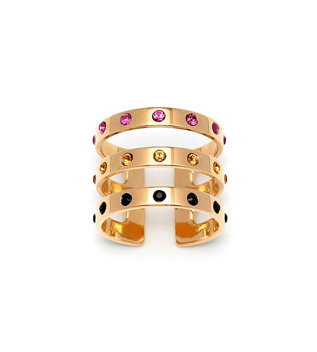 стильное тройное кольцо с разноцветными кристаллами Swarovski от Maria Francesca Pepe