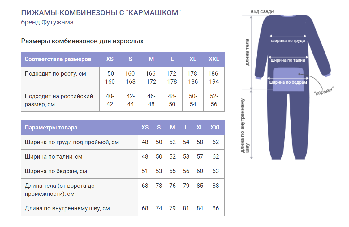 Таблица размеров флисовых пижам Футужама