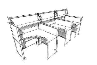Колл-центр с угловыми столешницами и полочками