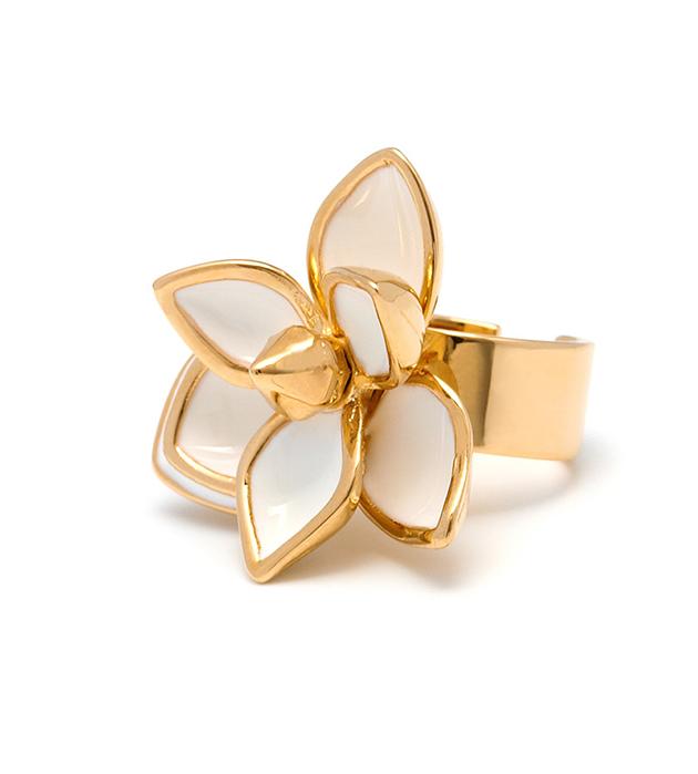 кольцо с белым цветком на фалангу с эмалью White Flower от Maria Francesca Pepe
