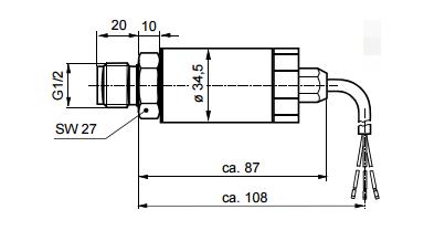 Размеры датчика давления для жидких и газообразных сред Siemens QBE2002-P20