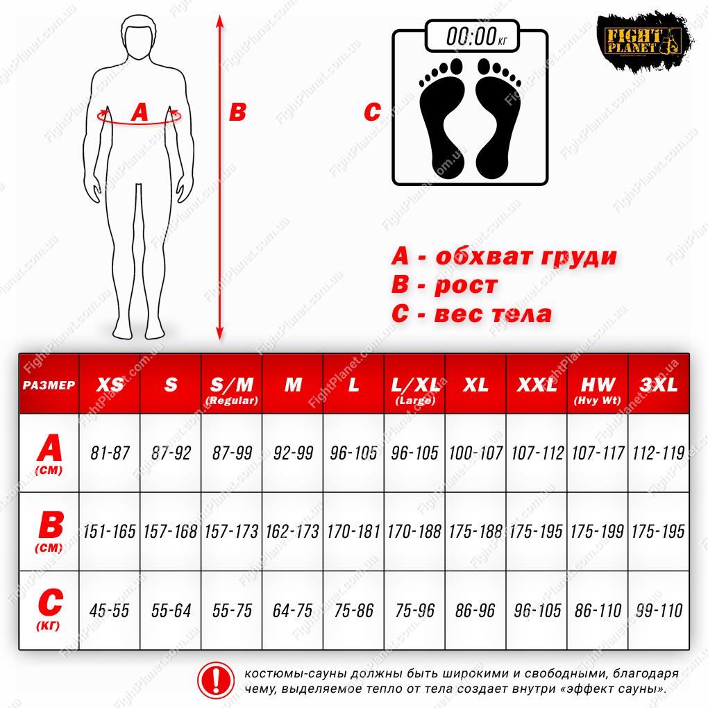 Размерная сетка костюмов-сауны Title Boxing